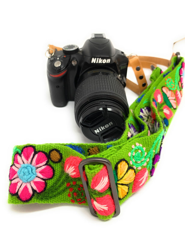 Hand embroidered Camera Straps with real leather.