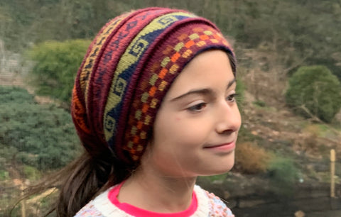 Reversible pony tail scarf beanie by Peruvian Accent