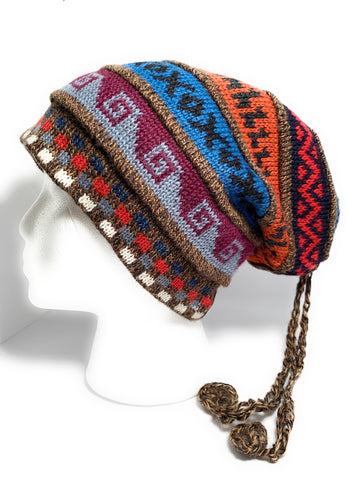 Handmade Reversible Scarf Beanie by Peruvian Accent