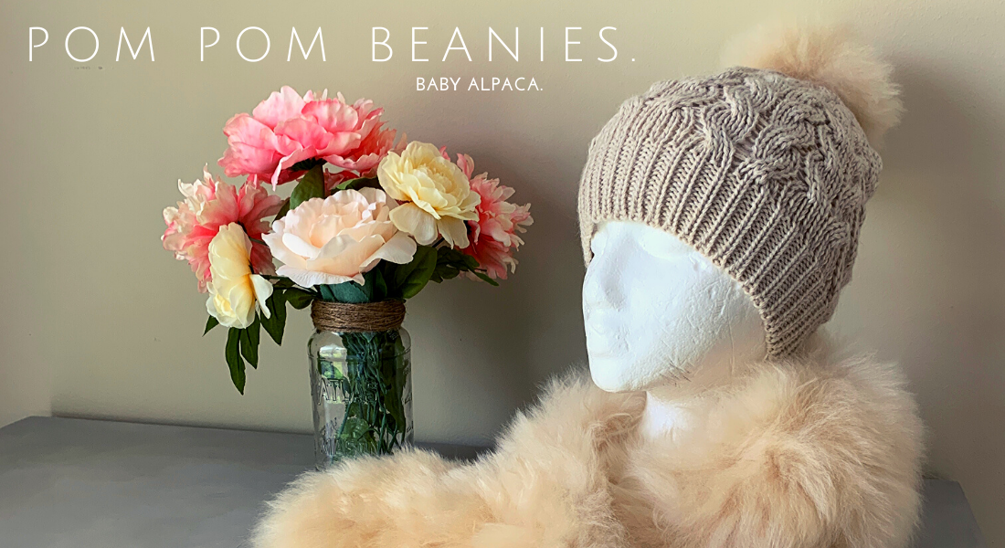 Handmade real fur Pom pom beanie by Peruvian Accent
