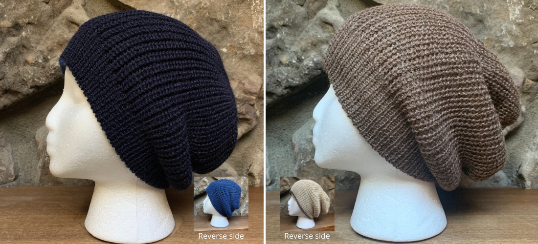 100% Alpaca Reversible Slouchy Beanie by Peruvian Accent