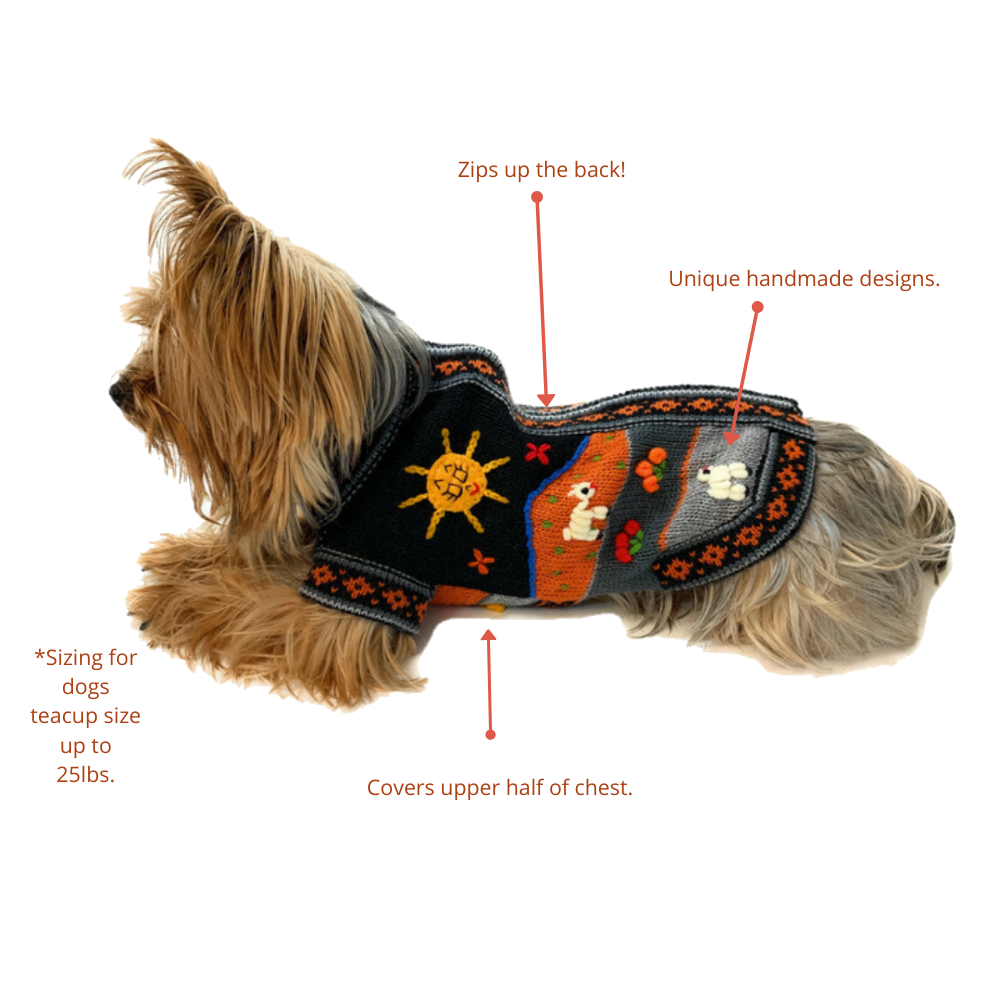 Handmade doggy sweaters by Peruvian Accent