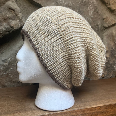 Handmade loose knit reversible Slouchy beanie.