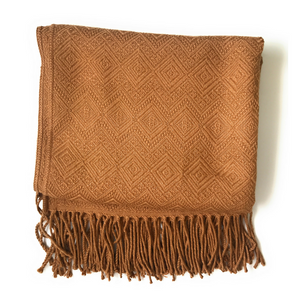 HANDMADE Alpaca Throw Blanket. BROWN. Hypoallergenic - Peruvian Accent