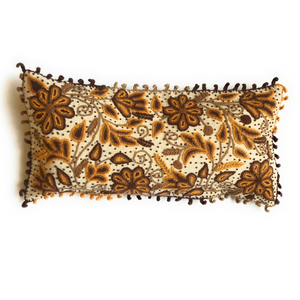 Handmade Large, Wool Lumbar Pillow with Alpaca Floral Pattern Stitchin. Made In Peru. - Peruvian Accent