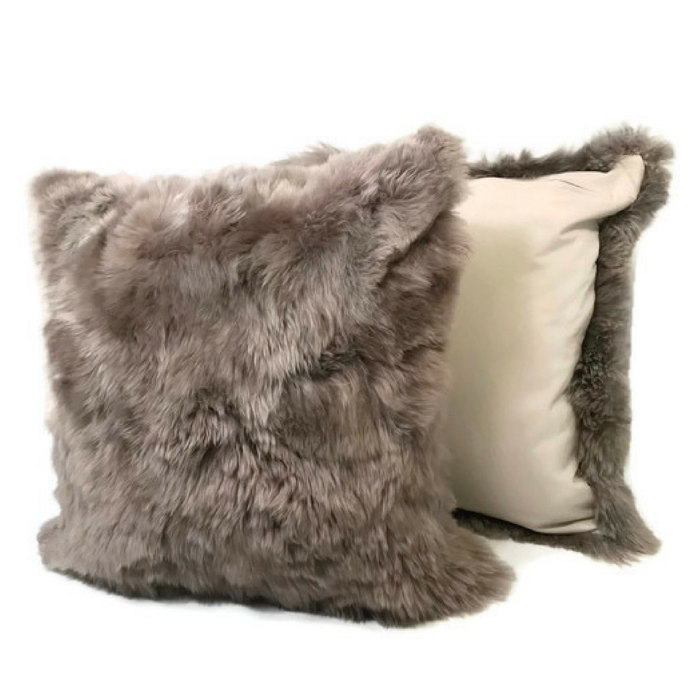 "Taupe, Baby Alpaca Fur pillow cover. 20"" x 20"". Fur on 1 sides. Hypoallergenic. - Peruvian Accent"