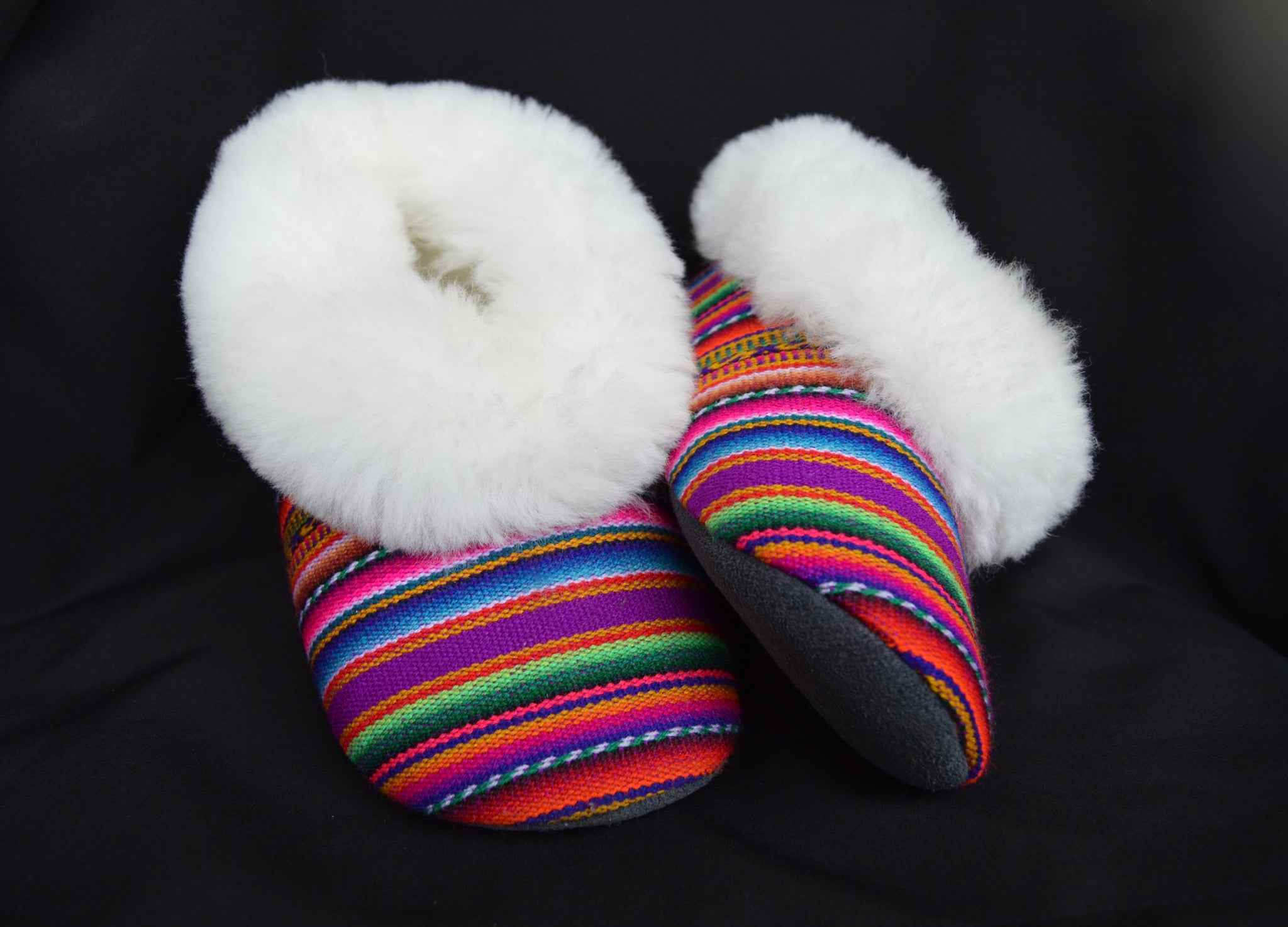 "Handmade ""Pantufla"" style Alpaca fur Manta color slippers. Custom made. Free Shipping to USA. - Peruvian Accent"