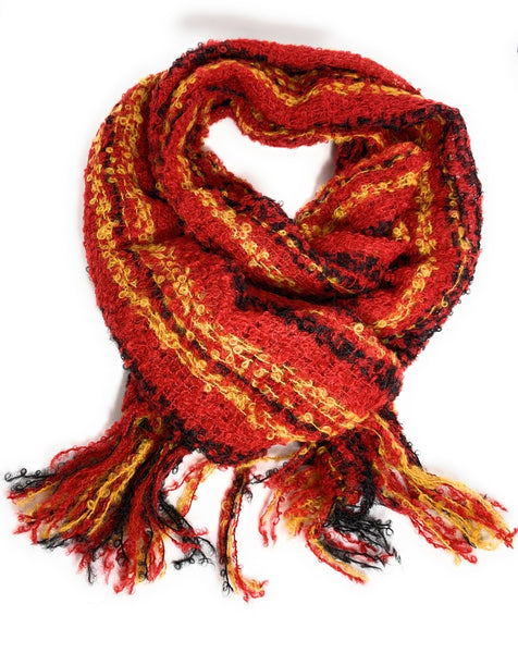 INCA RED STRIPE boucle scarf