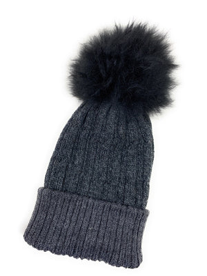 Open image in slideshow, Suri Alpaca fur pom pom Beanie