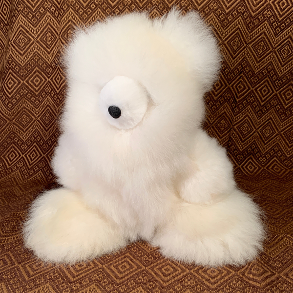 Handmade Luxury Baby Alpaca Fur, Large Teddy Bear. (Marshmallow) - Peruvian Accent