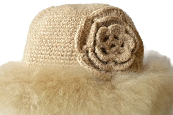 Beautiful, Handmade, Luxury, Beige Alpaca hat with baby Alpaca fur trim. Free Shipping - Peruvian Accent
