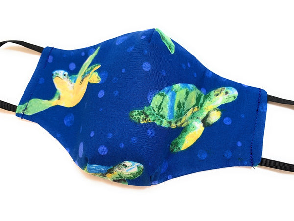 Blue Sea Turtle with Bubles mask