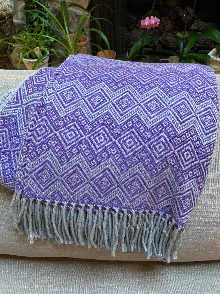 Purple and Gray Alpaca Throw Blanket