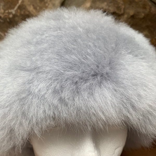 Luxury Alpaca Fur Headband or Neck Warmer. SILVER