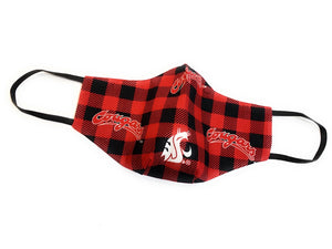 WSU RED AND BLACK PLAID mask