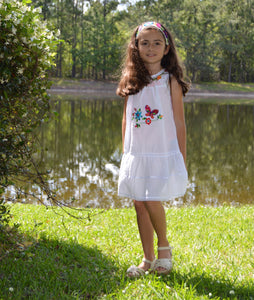 Copy of Girls Summer Dress (white) Size 8