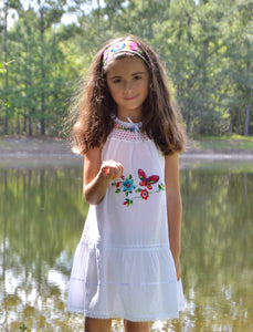Girls Summer Dress (white) Size 6.