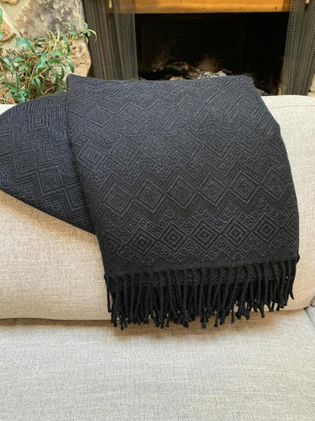 Handmade Alpaca throw blanket. Solid Black Hypoallergenic.
