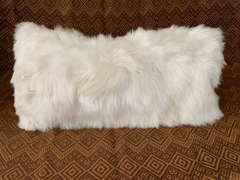 "10"" x 20"" 100% baby Alpaca fur Lumbar Pillow. (White)"