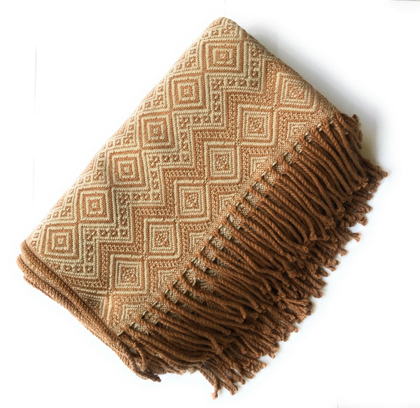 Handmade Peruvian Alpaca throw blanket. Brown & Beige. Hypoallergenic - Peruvian Accent
