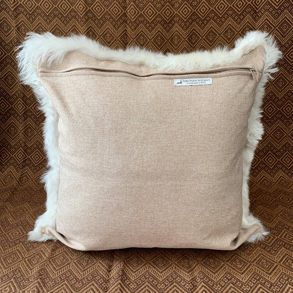 "White, handmade Premium Baby Alpaca Fur pillow cover.20""x20"". Fur on ONE side. FREE SHIP - Peruvian Accent"