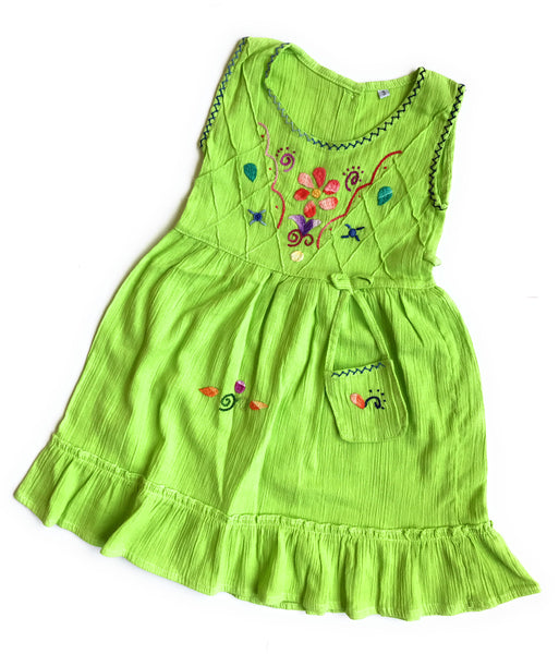Handmade Peruvian cotton Summer dresses with unique embroidered designs. SIZE 3 - Peruvian Accent