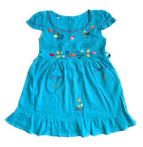 Handmade Peruvian cotton Summer dresses with unique embroidered designs. SIZE 4 - Peruvian Accent