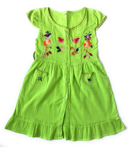 Handmade Peruvian cotton Summer dresses with unique embroidered designs. SIZE 5 - Peruvian Accent