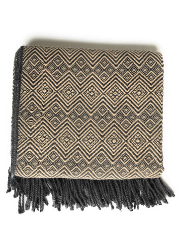 Handmade Peruvian Alpaca throw blanket. Camel and CHARCOAL. Hypoallergenic - Peruvian Accent