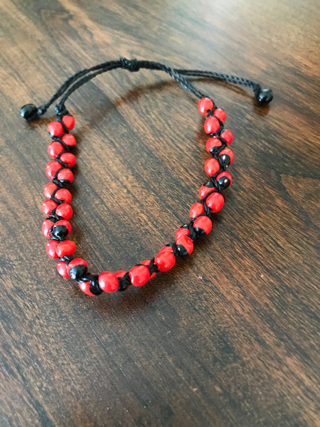 Handmade Peruvian Huayruro seed, good luck bracelet. One size fits all.