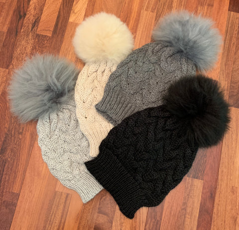 Handmade Alpaca beanie with real fur pompom.