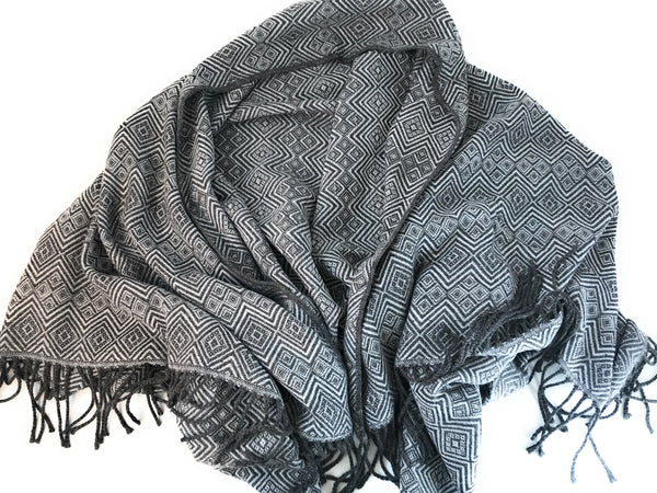 Handmade Alpaca throw blanket. Charcoal Gray and Silver. Hypoallergenic. - Peruvian Accent