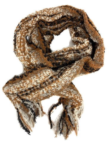 BLACK, BROWN AND WHITE STRIPE  boucle scarf