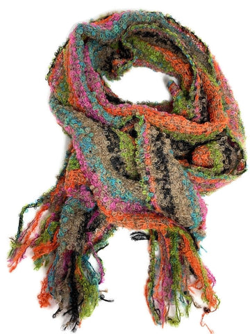 GREEN, PINK, ORANGE AND BLUE STRIPE  boucle scarf