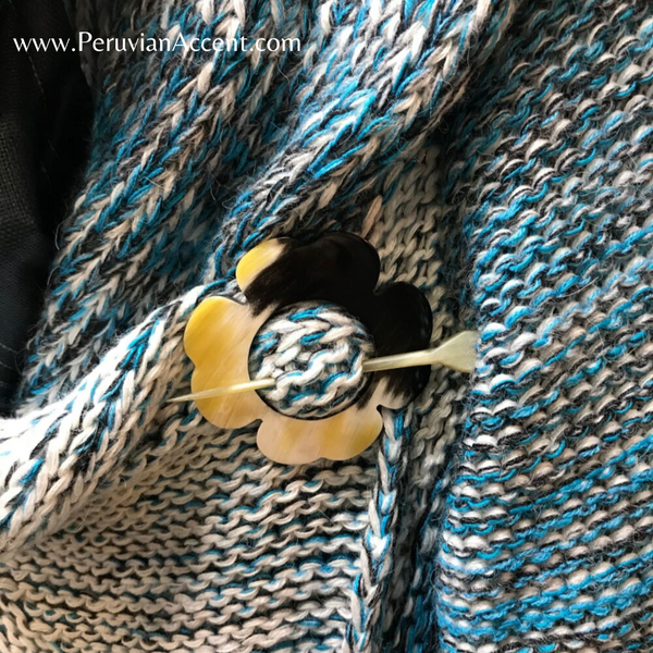 Handmade luxury sweater pins made from bull horns. - Peruvian Accent