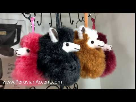 ALPACA PAL Fur PomPom zipper Charm.(brown with Mohawk)