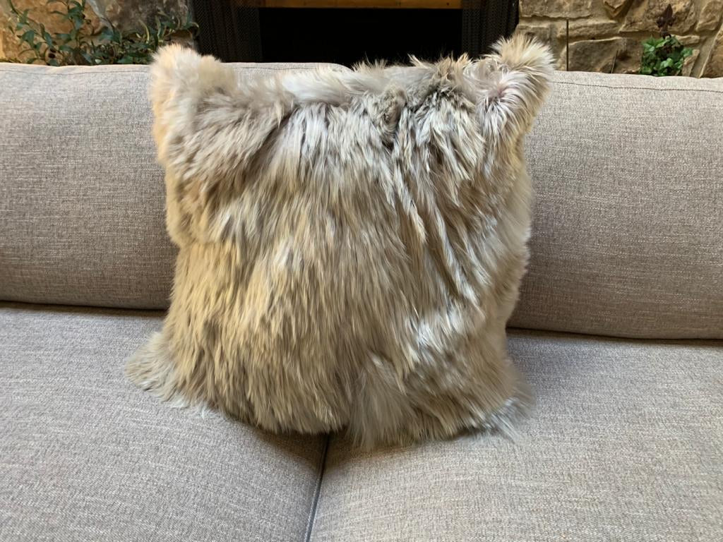 "Taupe, Baby Alpaca Fur pillow cover. 20"" x 20"". Fur on 1 sides. Hypoallergenic."