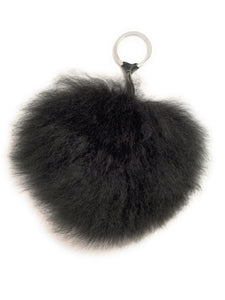 Handmade, Real Baby Alpaca Fur PomPom zipper Charm.  Midnight Black - Peruvian Accent