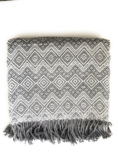 Handmade Alpaca throw blanket. Gray and White. Hypoallergenic.