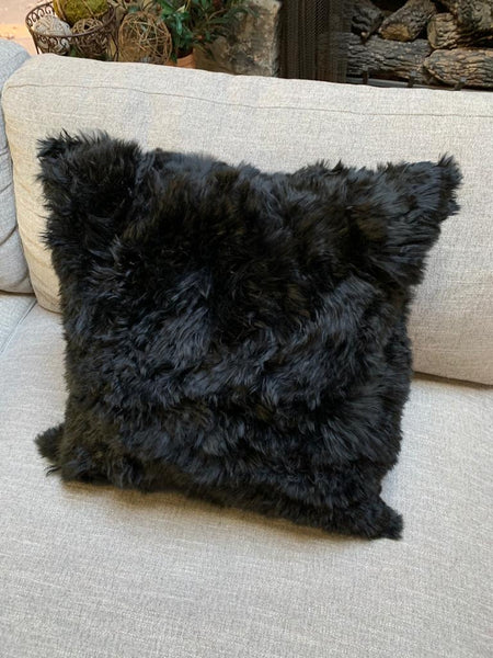 "1 Black, handmade Premium Baby Alpaca Fur pillow cover.20""x20"". Fur on ONE side."