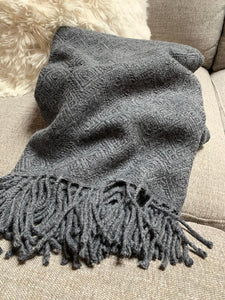 Handmade Alpaca throw blanket. Charcoal Gray. Hypoallergenic. - Peruvian Accent