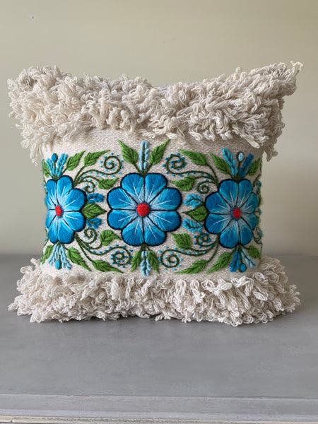 Handmade 16x16 Pillow with Alpaca Floral hand embroidery. - Peruvian Accent