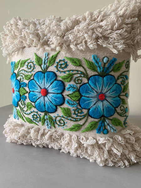 Handmade 16x16 Pillow with Alpaca Floral hand embroidery.