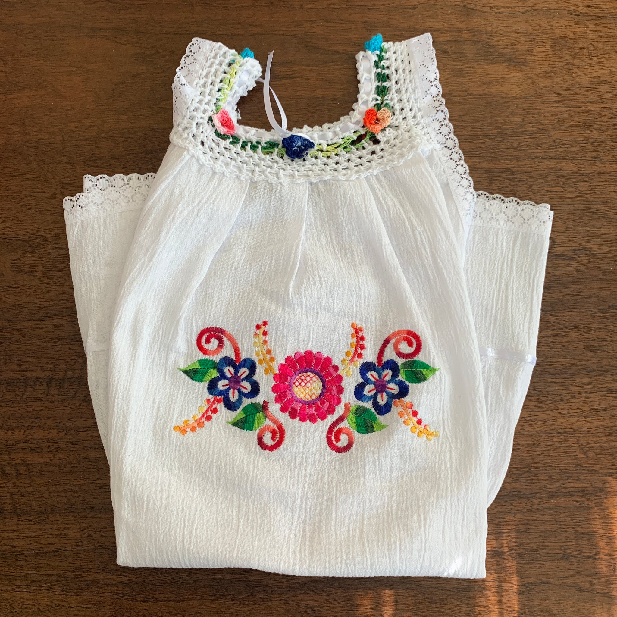 Girls Summer Dress (white) Size 6. - Peruvian Accent