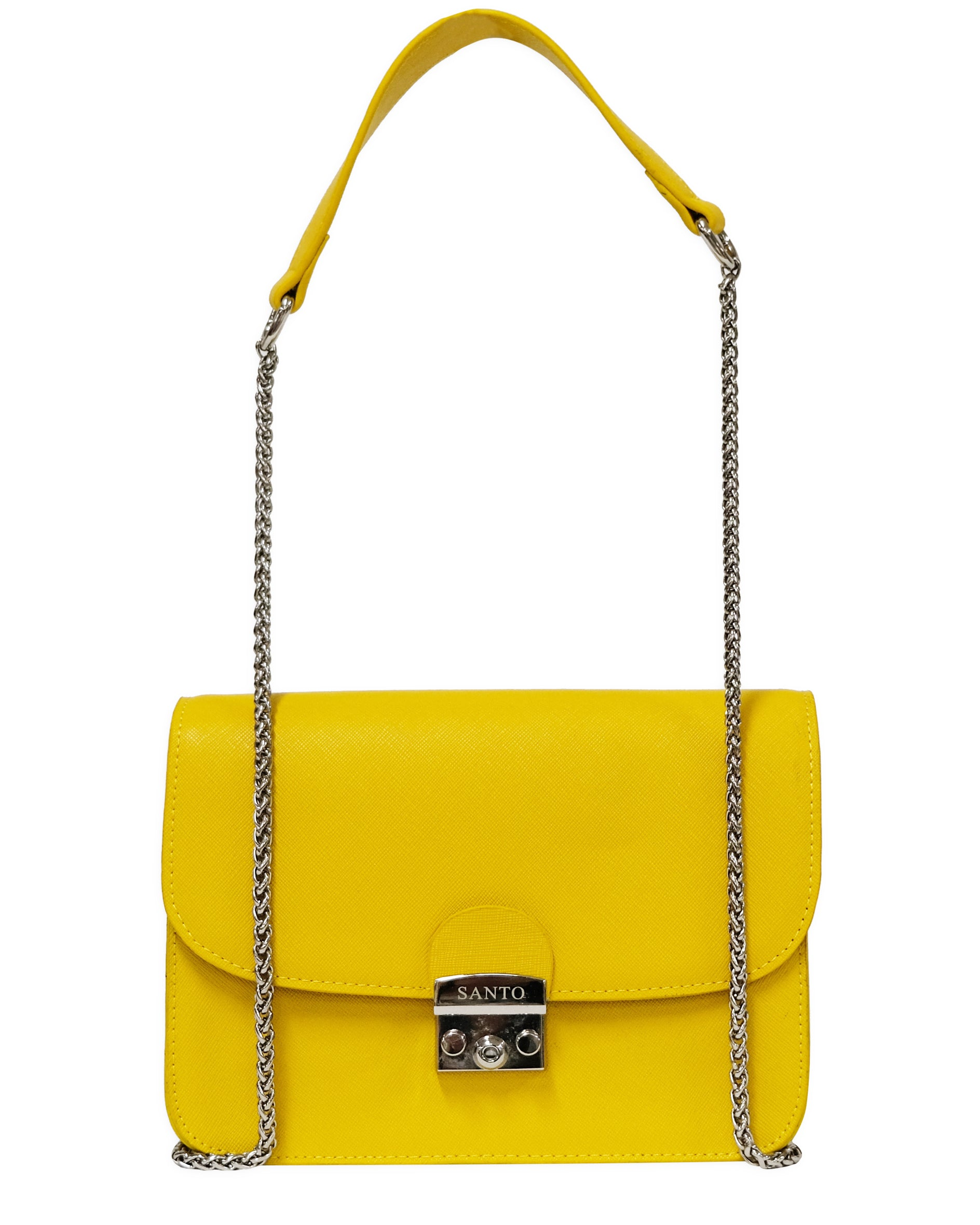lowest price 2018 sneakers shop for authentic Square Messenger Lock Chain Designer Handbags Yellow