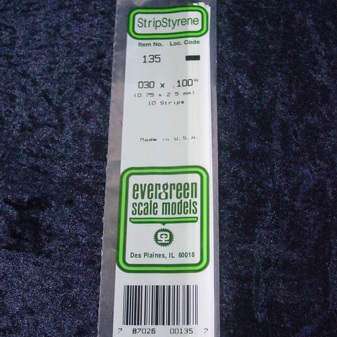 "Evergreen Strip 135 0.030 x 0.100 x 14"" (10)"