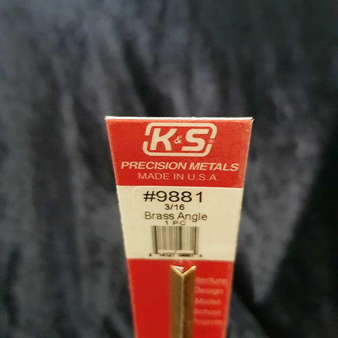 Brass Angle K&S 9881 3/16 x 300mm