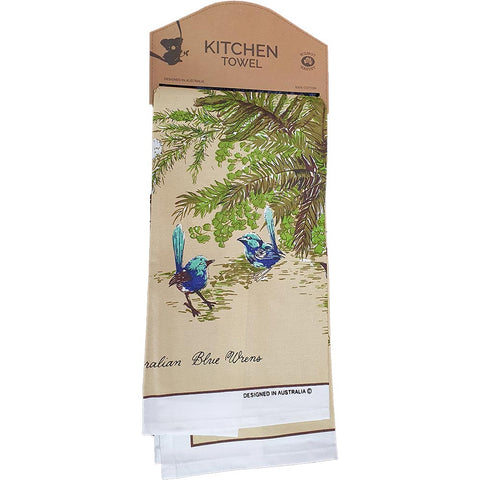 Tea Towel - Blue Wrens