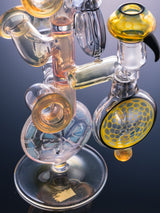 Brett Myers Glass gold/silver Fumed Honeycomb 3 in 1 Rig