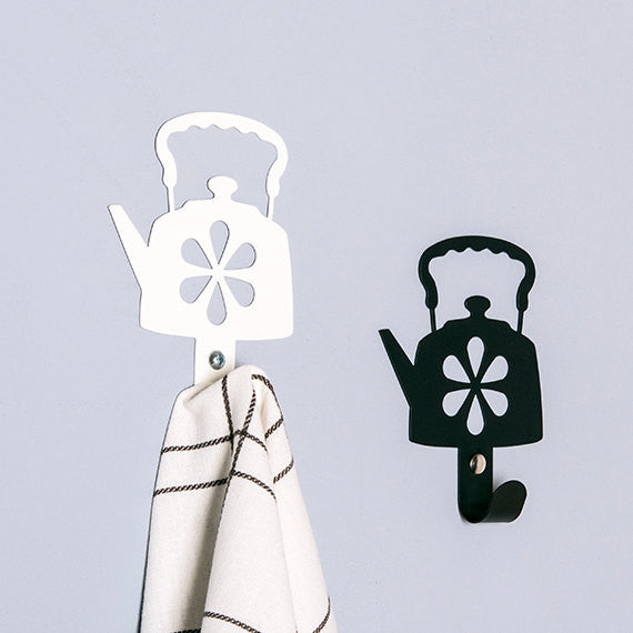 Two tea pot metal wall hooks